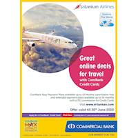 Sri Lankan Airlines: Great online deals for travel with ComBank Credit Cards.