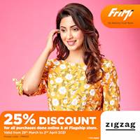 Enjoy a 25% discount for purchases done online via www.zigzag.lk & at ZIGZAG Flagship Store via FriMi app