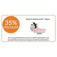 Enjoy 35%discountatAlbatrossBoutiqueVilla,DiganaforallSampathBank Credit Card holders
