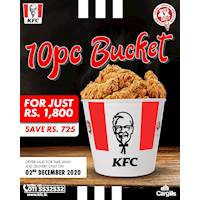 Get 10 Pcs Chicken Bucket for Rs. 1,800 today at KFC