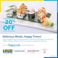 Get up to 20% off on take away and delivery orders above LKR 1,000 from the Gourmet by Movenpick Hotel Colombo using your HNB Credit Card!
