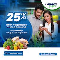Get 25% Off on Fresh Vegetable, Fruits and seafood on Every Weekdays at LAUGFS for Commercial Bank Credit Cards