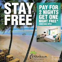 Book a 3-night stay and Pay for 2 nights ONLY! That's 1 NIGHT FREE at Hikkaduwa Beach Hotel