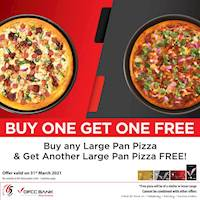 Buy any Large Pan Pizza using your DFCC Credit Card and get another Large Pan Pizza FREE from the same or a lesser range at Pizza hut