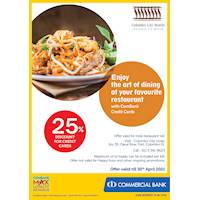 Enjoy 25% Discount for ComBank Credit Cards at Colombo City Hotel