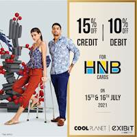 Enjoy 15% Off On HNB credit and 10% Off On Debit at any Cool Planet store or www.coolplanet.lk