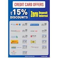 Get up to 15% discount for Credit Cards at Damro.lk