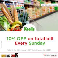 10 % off on total bill Every Sunday with DFCC credit cards