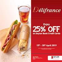 Enjoy 25% off on Seylan Bank Credit Cards at Delifrance