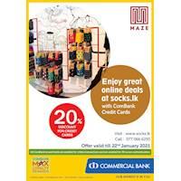Enjoy great online deals at socks.lk with ComBank Credit Cards