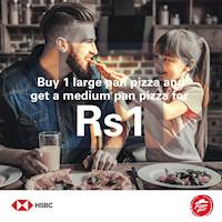 Buy 1 Large Pan Pizza and Get a Medium Pan Pizza for Rs.1 with HSBC Platinum Cashback Credit Cards at Pizza Hut