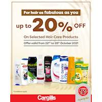 Get up to 20% OFF on selected hair care products at Cargills Food City