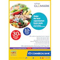 30% Discount for Credit Cards and 10% Discount for Debit Cards at Softlogic Glomark on Every Wednesday with Commercial Bank Cards