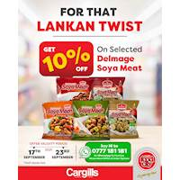 10% OFF on selected Delmage Soya Meat at all Cargills FoodCity!