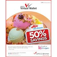 Get 50% Cashback at Jaffna Rio Ice cream parlour for the first Rs.1,000 spent using your DFCC Virtual Wallet