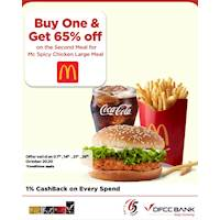 Buy One Mc Spicy Chicken Large Meal and Get 65% off on the second meal at McDonalds with DFCC Credit Cards!