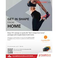 Enjoy 15% savings on ayubo.life Get in shape from home packages with Cargills Bank Credit Cards.
