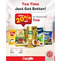 Get up to 20% OFF on a selected range of tea products at Cargills FoodCity