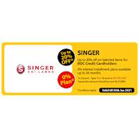 Get up to 20% Off on Selected Items at Singer for BOC Credit Cards