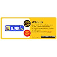 Upto 12.5% Off on Selected items for BOC Credit Card Holders at wasi.lk