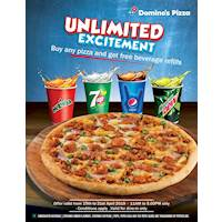 Quench your thirst by obtaining unlimited beverage refills with Any Pizza you buy