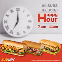 All sub Rs 300/- at Subway - Happy Hours