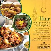 Order delicious Iftar treats and family meals via The Kingsbury Indulgence.