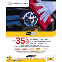 Enjoy up to 35% OFF + 0% Plans up to 24M for all BOC Credit Cards at Toyota Lanka Service Centres