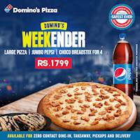 Large Pizza, Jumbo Pepsi and Choco Breadstix for 4 for Rs.1799 at Domino's Pizza!