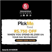 Spend LKR 2500 and enjoy savings of LKR 750 on Pick Me Food at Shanghai Terrace