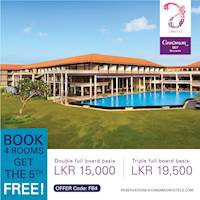 Book 4 rooms and get the 5th one free at Cinnamon Bay Beruwala