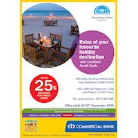 Up to 25% off at Nilaveli Beach Hotel with Commercial Bank Cards