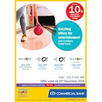 Exciting offer for entertainment with Combank Cards at selected stores