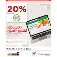 Enjoy 20% savings at catchme.lk with DFCC Credit Cards!