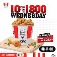 KFC Sri Lanka - Hot & Crispy Wednesdays! Get 10PC bucket for only Rs. 1,800! Exclusively only on Wednesdays!