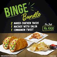 Binge Bundle from Taco Bell! Get 2 Naked Chicken Tacos + 1 Nachos + 1 Cinnamon Twist for Just Rs1000