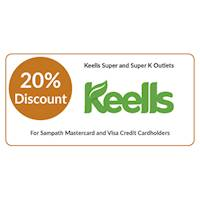 20% discount on Keells branded products at Keells for all Sampath Mastercard & Visa Credit Cardholders