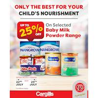 Get up to 25% OFF on a selected range of baby milk products at Cargills Food City