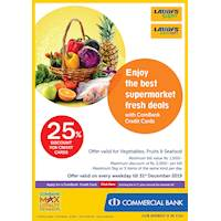 Enjoy up to 25 % discount on vegetables, fruits and seafood on every weekday at LAUGFS supermarket.