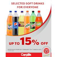 Get up to 15% Off on selected Soft Drinks at Cargills FoodCity!