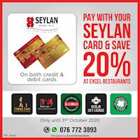 Save 20% off with Seylan bank cards at Excel Restaurants