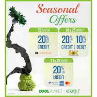 Seasonal offers for selected bank cards at Cool Planet