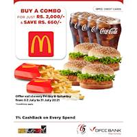 Buy a Combo for just Rs. 2,000/- and Save Rs. 660/- at McDonald's with DFCC Credit Cards!