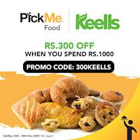 Rs.300 OFF when you spend Rs.1000 at Keells only on PickMe Food