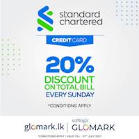 Enjoy 20% DISCOUNT on TOTAL BILL with Standard Chatered Credit Cards at GLOMARK & www.glomark.lk
