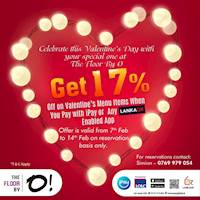 Get 17% OFF on Valentine's Day menu items at The Floor By O when you pay with iPay or any LANKAQR enabled payment app.