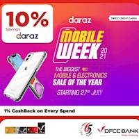 Get extra 10% OFF site-wide at daraz.lk on mobile phones & electronic with DFCC Credit Cards!