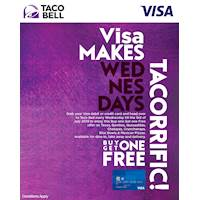 Grab your Visa Debit or Credit Card and head over to TacoBell every Wednesday till the 3rd of July 2019 to enjoy this amazing BUY 1 GET 1 FREE offer