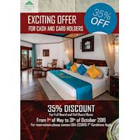 EXCITING OFFER 35% OFF FOR CASH AND CARD HOLDERS at Royal Palms Beach Hotel Kalutara