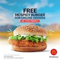 Get a Free McSpicy Burger when you order online at McDonalds
